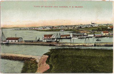 , Town of Souris and Harbor, P.E. Island. (0552), PEI Postcards