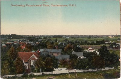 , Overlooking Experimental Farm, Charlottetown, P.E.I. {note: one half of double-width card} (0618), PEI Postcards