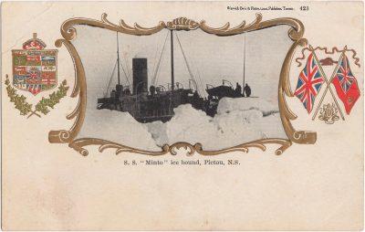 """, S.S. """"Minto"""" ice bound, Pictou, N.S. (0598), PEI Postcards"""