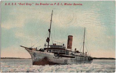 ", D.G.S.S. ""Earl Gray."" Ice Breaker on P.E.I., Winter Service. (0588), PEI Postcards"
