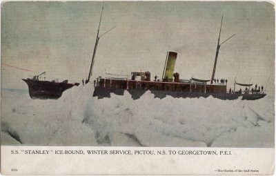 , S.S. Stanley Ice-Bound, Winter Service, Pictou, N.S. to Georgetown, P.E.I. (0657), PEI Postcards