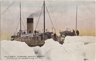 , D.G.S. Minto Icebound, Winter Service, Pictou N.S. to Georgetown, P.E.I. (0652), PEI Postcards