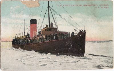 , S.S. Minto Entering Georgetown Harbor, P.E. Island. (0653), PEI Postcards