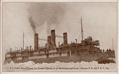 , S.S. Prince Edward Island, Ice Breaker fighting ice on Northumberland Straits, between N.B. and     P.E.I., Can. (0651), PEI Postcards