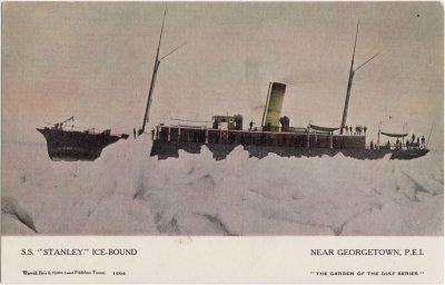 ", S.S. ""Stanley"" Ice-Bound. Near Georgetown, P.E.I. (0656), PEI Postcards"