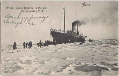 , Winter Scene Stanley in the ice. Summerside, P.E.I. (0647), PEI Postcards
