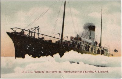 """, D.G.S.S. """"Stanley"""" in Heavy Ice. Northumberland Straits, P.E.Island. (0646), PEI Postcards"""