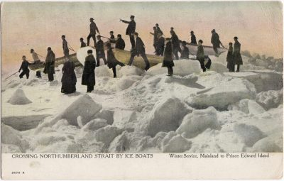 , Crossing Northumberland Strait by Ice Boats. Winter Service, Mainland to Prince Edward Island. (0658), PEI Postcards