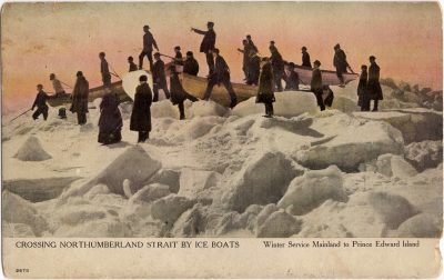 , Crossing Northumberland Strait by Ice Boats. Winter Service Mainland to Prince Edward Island. (0659), PEI Postcards