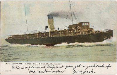 ", S.S. ""Empress"" en Route Prince Edward Island to Mainland (0639), PEI Postcards"