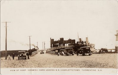 , View of Ramp Showing Cars Leaving S.S. Charlottetown Tormentine N.B. (0620), PEI Postcards