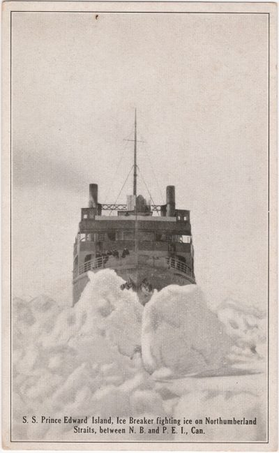 , S.S. Prince Edward Island, Ice Breaker fighting ice on Northumberland Straits between N.B. and     P.E.I., Can. (0654), PEI Postcards