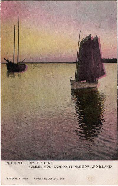 , Return of Lobster Boats Summerside Harbor, Prince Edward Island. (0147), PEI Postcards