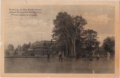 , Putting on the Ninth Green Beach Grove Inn Golf Links. Prince Edward Island. (0173), PEI Postcards