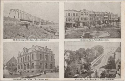 , Hillsborough Bridge, Charlottetown – Victoria Row, Charlottetown – General Post Office,     Charlottetown – Victoria Park Roadway, Charlottetown (0210), PEI Postcards