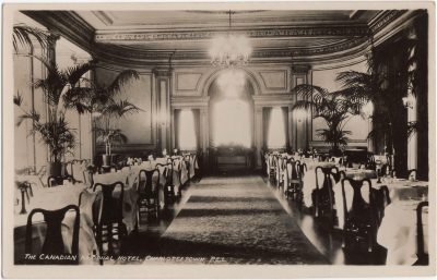 , The Canadian National Hotel, Charlottetown, P.E.I. – Main Dining Room The Canadian National Hotel     Charlottetown P.E.I. Canada (0225), PEI Postcards