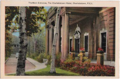 , The Main Entrance, The Charlottetown Hotel, Charlottetown, P.E.I. (0228), PEI Postcards