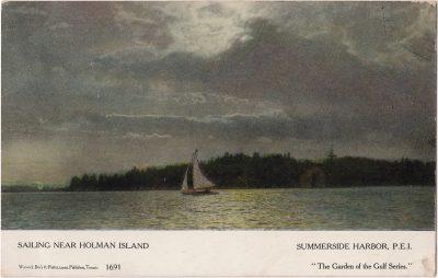 , Sailing Near Holman Island, Summerside Harbor, P.E.I. (0260), PEI Postcards