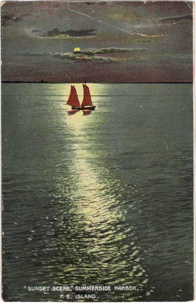 ", ""Sunset Scene,"" Summerside Harbor, P.E.Island. (0286), PEI Postcards"