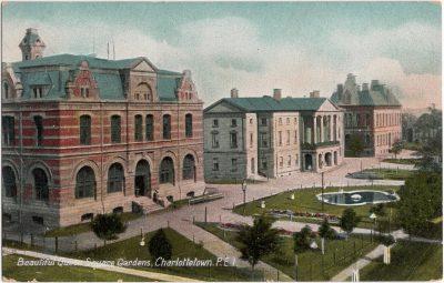 , Beautiful Queen Square Gardens, Charlottetown, P.E.I. (0266), PEI Postcards