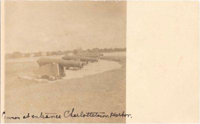 , Cannon at entrance Charlottetown Harbor. (0308), PEI Postcards