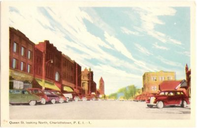 , Queen St. looking North, Charlottetown, P.E.I. (0381), PEI Postcards