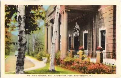 , The Main Entrance, The Charlottetown Hotel, Charlottetown, P.E.I. (0374), PEI Postcards