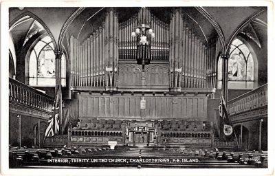 , Interior, Trinity United Church, Charlottetown, P.E. Island (0367), PEI Postcards