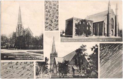 , St. James Presbyterian Church, First Methodist Church, Church of England, Charlottetown, P.E.I. (0395), PEI Postcards