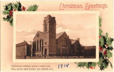 , Christmas Greetings 1914. New Zion Presbyterian Church, Charlottetown, P.E.I. (0387), PEI Postcards