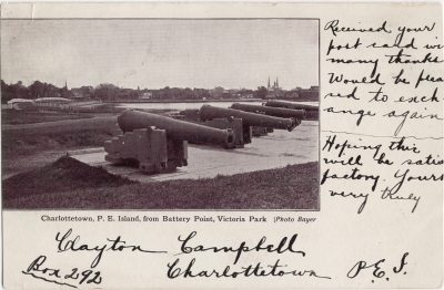 , Charlottetown, P.E. Island, from Battery Point, Victoria Park. (0477), PEI Postcards