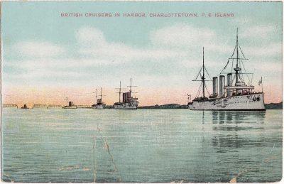 , British Cruisers in Harbor, Charlottetown, P.E. Island (0479), PEI Postcards