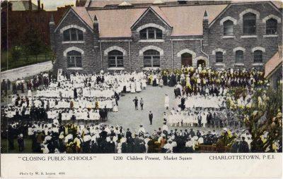 , Closing Public Schools 1200 Children Present, Market Square, Charlottetown, P.E.I. (0412), PEI Postcards