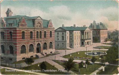 , Beautiful Queen Square Gardens, Charlottetown, P.E.I. (0418), PEI Postcards