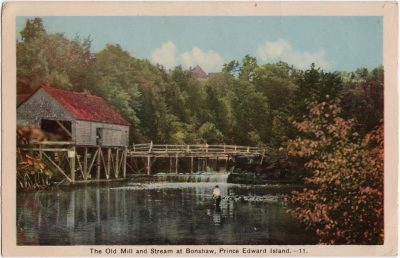 , The Old Mill and Stream at Bonshaw, Prince Edward Island. (0531), PEI Postcards