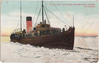 , S.S. Minto Entering Georgetown Harbour, P.E. Island (0491), PEI Postcards