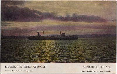 , Entering the Harbor at Sunset, Charlottetown, P.E.I. (0497), PEI Postcards