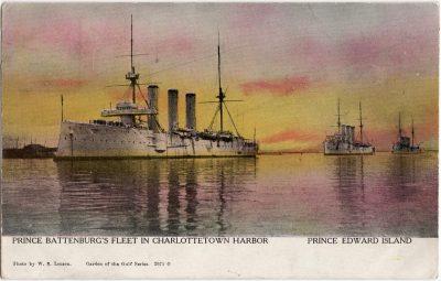 , Prince Battenburg's Fleet in Charlottetown Harbor Prince Edward Island (0517), PEI Postcards