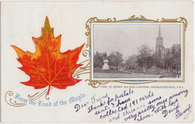 , View in Queen Square Gardens, Charlottetown, P.E.I. From the Land of the Maple (0523), PEI Postcards