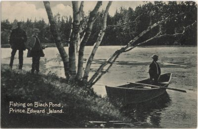 , Fishing on Black Pond, Prince Edward Island. (0692), PEI Postcards