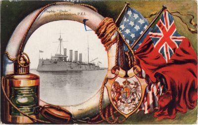 """, Flagship """"Drake"""" at Charlottetown, P.E.I. (0706), PEI Postcards"""