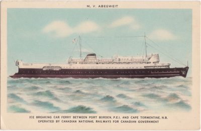 , M.V. Abegweit Ice Breaking Car Ferry Between Port Borden, P.E.I. and Cape Tormentine, N.B.     Operated by Canadian Natinoal Railways for Canadian Government (0711), PEI Postcards