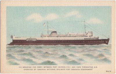 , Ice Breaking Car Ferry Between Port Borden, P.E.I. and Cape Tormentine, N.B. Operated by Canadian     Natinoal Railways for Canadian Government (0710), PEI Postcards