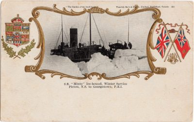 """, S.S. """"Minto"""" Ice-bound, Winter service Pictou, N.S. to Georgetown, P.E.I. (0713), PEI Postcards"""