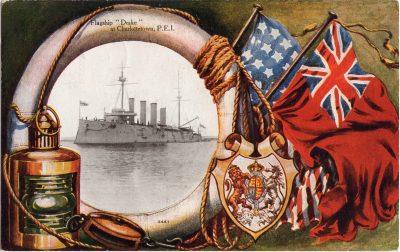 """, Flagship """"Drake"""" at Charlottetown, P.E.I. (0701), PEI Postcards"""