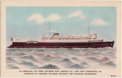 , Ice Breaking Car Ferry Between Port Borden, P.E.I. and Cape Tormentine, N.B. Operated by Canadian     Natinoal Railways for Canadian Government (0717), PEI Postcards