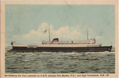 , Ice breaking Car Ferry operated by C.N.R. between Port Borden P.E.I. and Cape Tormentine, N.B. (0721), PEI Postcards