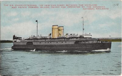 , The S.S. Charlottetown, the new car ferry between the Mainland and Prince Edward Island, owned     and operated by the Canadian National Railways. (0730), PEI Postcards