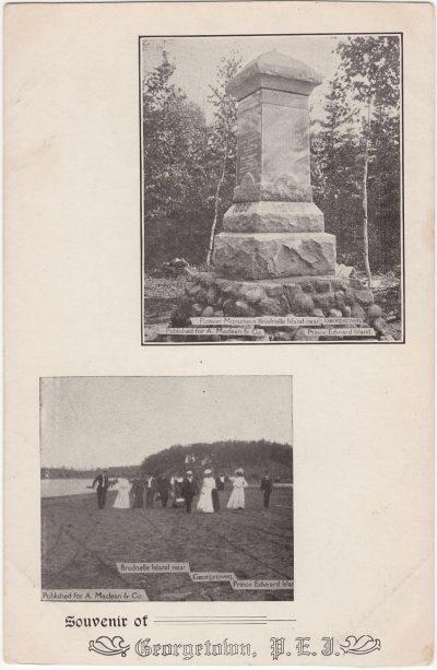 , Souvenir of Georgetown, P.E.I. Pioneer Monument Brudnelle Island Near Georgetown | Brudnelle     Island near Georgetown, Prince Edward Island (0752), PEI Postcards