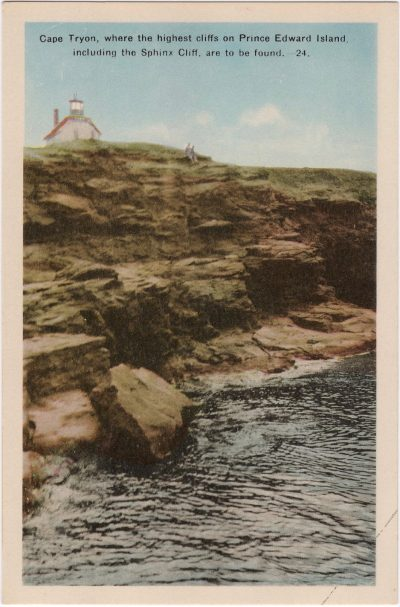 , Cape Tryon, where the highest cliffs on Prince Edward Island, including the Sphinx Cliff, are to     be found. (0773), PEI Postcards